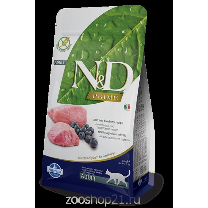 Корм Farmina N&D Lamb & Blueberry Adult беззерновой для взрослых кошек ягненок с черникой, 1.5 кг